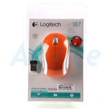 Wireless Optical Mouse LOGITECH (M-187) Orange/White