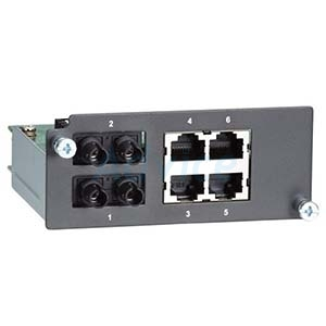 Fast Ethernet module with 2 multi-mode 100BaseFX ports with ST connectors and 4 10/100BaseT(X) ports