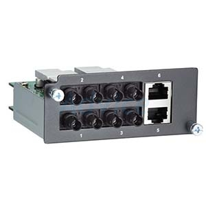 Fast Ethernet module with 4 multi-mode 100BaseFX ports with ST connectors and 2 10/100BaseT(X) ports