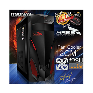 ATX Case ITSONAS Ares (Black-Red)