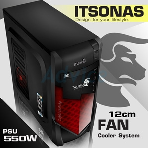 ATX Case ITSONAS TAURUS KR (Black-Red)