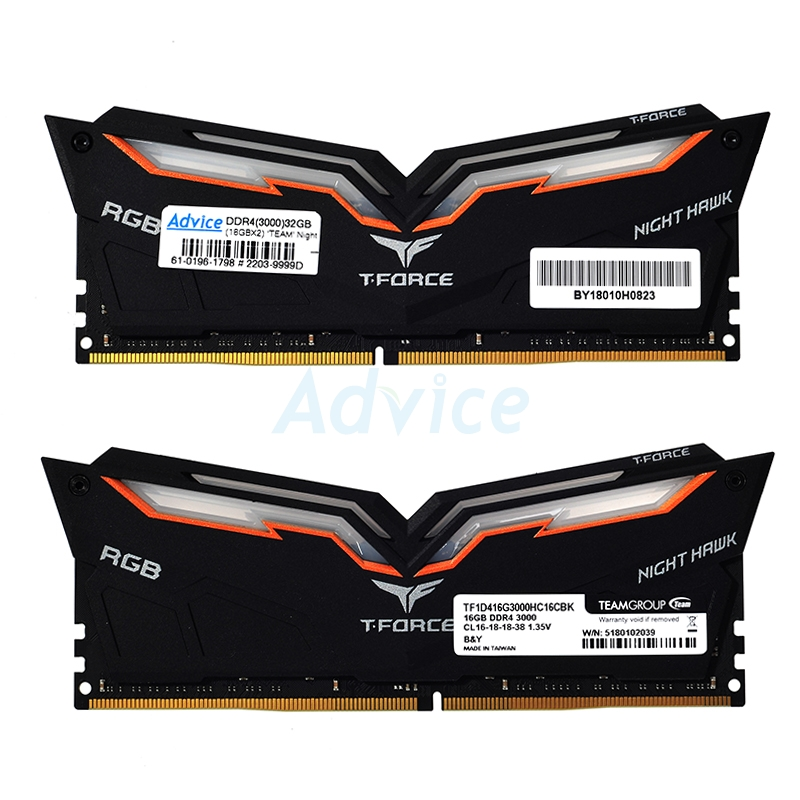 RAM DDR4(3000) 32GB (16GBX2) TEAM Night Hawk RGB Black