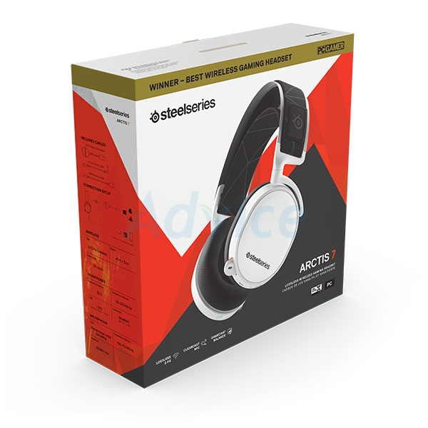 HEADSET (7.1) STEELSERIES Arctis 7 Wireless (White) 2019 Edition