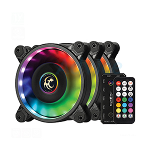 FAN CASE 12cm TSUNAMI 1263 ARGB (Black) + Remote (Pack3)